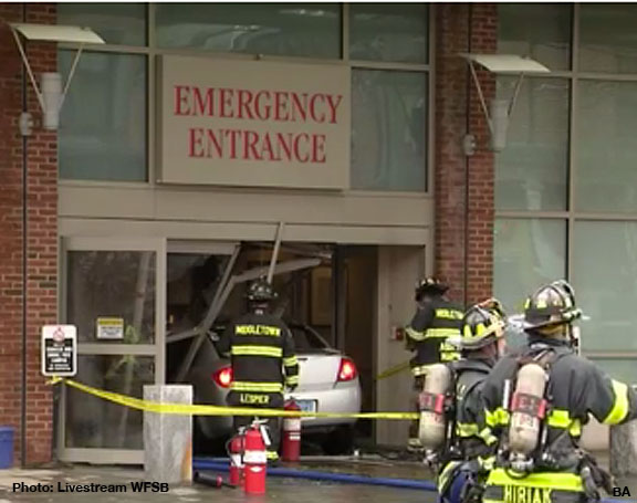 Breaking News: Car Crashes into Hospital Emergency Room Entrance in
