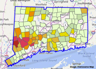 Eversource Outage Map Indicates 1925 Customer Outages In Bethel